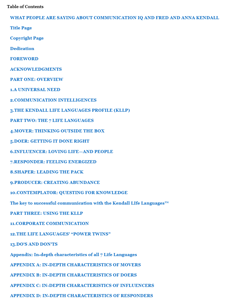 Communication IQ Table of Contents